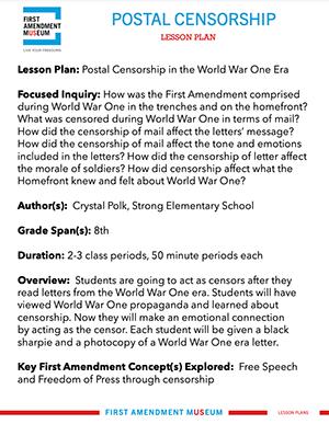 Teacher Resources First Amendment  Lessons Plans