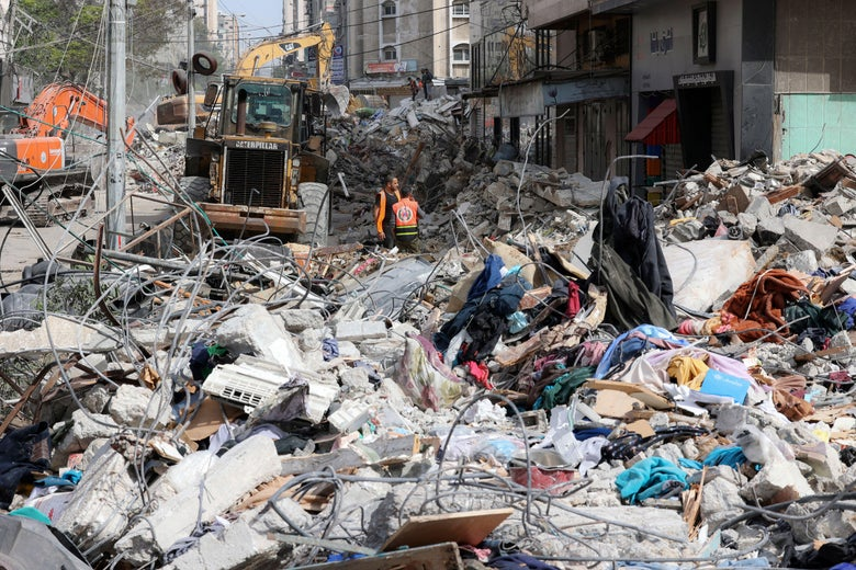 Destroyed building in Gaza City, source Getty Images